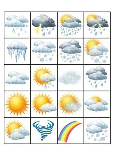' Game or if doubled, Memory Game. Any Language Teaching Weather, Teaching Kids, Kids Learning, Fall Preschool Activities, Weather Activities, Weather For Kids, Weather Crafts, Toddler School, Weather Seasons