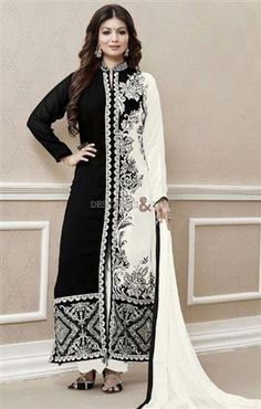Latest Fashions Bollywood Suits Designs By Ayesha Takia http://www.designersandyou.com/dresses/bollywood-dresses #Latest #Fashion #BollyWood #Suit #Dress #Black #White #Embroidery