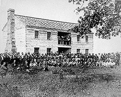 Delegates from 34 tribes in front of Creek Council house, Indian Territory (Oklahoma), ca. 1880