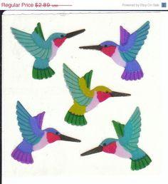 ON SALE Vintage Sandylion Pearl Finish Hummingbird Stickers 80's Opal Rainbow