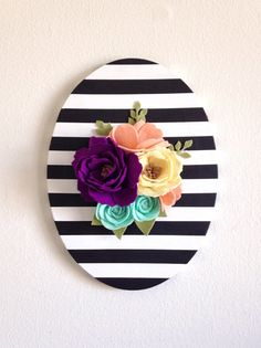 Felt Flower Sign Felt Flower Wall Art Felt Rose by thegreyrose