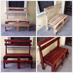 Banca hecha de cabeceras de cama y tarimas de madera reciclaje bench made headboards and - Reciclaje de palets de madera ...