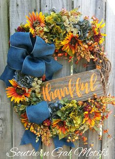 """THANKFUL"" FALL WREATH! Check out this item in my Etsy shop https://www.etsy.com/listing/467133320/thankful-fall-wreath-thankful-floral"