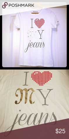 """Miss Me """"I ❤My Jeans """" White and Gray Tee Shirt Miss Me """"I ❤My Jeans """" White and Gray Tee Shirt. Laying flat it measures 17 inches across the front. The length of the top is 26 inches .The Condition is New Without Tags. The material is 50% Cotton 50% Modal Miss Me Tops Tees - Short Sleeve"""