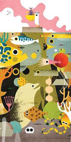 Philip Giordano is an Italian illustrator who lives in Tokyo. He works for magaz… Philip Giordano is an Italian illustrator who lives in Tokyo. He works for magazines, cover books, toys design, children' s books and animation. Children's Book Illustration, Graphic Design Illustration, Graphic Art, Alphonse Mucha, Fish Art, Grafik Design, Illustrations Posters, Animal Illustrations, Mail Art