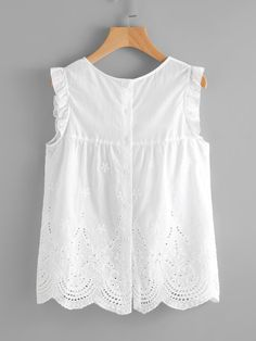 Cheap Eyelet Embroidered Scallop Hem Frilled Shell Top for sale Australia Fall Outfits, Casual Outfits, Cute Outfits, Blouse Styles, Blouse Designs, Little Girl Dresses, Girls Dresses, Mode Grunge, Diy Vetement