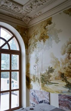 view of landscape on wall Painting Wallpaper, Mural Painting, Mural Art, Wall Wallpaper, Wall Murals, Wall Finishes, French Decor, Beautiful Wall, Wall Treatments