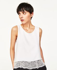 Image 2 of DOUBLE LAYER TOP WITH LACE DETAILS from Zara