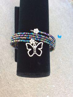 Silver Butterfly Charm Bracelet Multi Color by JenuineJewelryShop