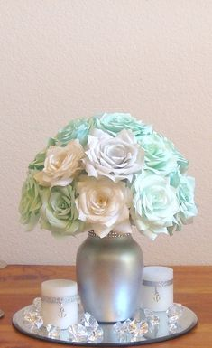 Mint Green Wedding Centerpiece Bridal table by CENTERTWINE on Etsy Quince Decorations, Quinceanera Decorations, Wedding Decorations, Sweet 15, Green Centerpieces, Mint Wedding Centerpieces, Centerpiece Ideas, Wedding Mint Green, Mint Green Flowers
