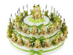 Torta bomboniera 38 fette ranocchie portamemo confetti a scelta inclusi #portamemo #segnaposto #tortabomboniera #ranocchio #occasionescontata
