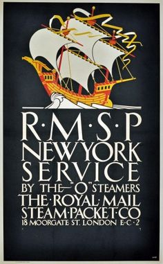 New York by Royal Mail Steam Packet Co, 1920s - original vintage poster by Shephard listed on AntikBar.co.uk
