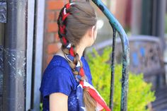 A Great 4th of July style for adults too! #cghscarfbraid #hairstyles #hairstyle #4thofjulyhair #braids #cutegirlshairstyles
