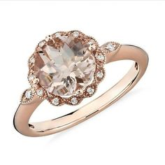 Anillo en oro rosado 18k Morganita Durazno 6mm 12 diamantes blancos de 2 puntos 2 diamantes blancos de 4 puntos #fb #tw #pin #morganite #ring #gold #diamond #pink #peach #love #forever