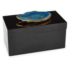"Check out this item at One Kings Lane! 8"" Black Lacquer Box w/ Blue Agate"