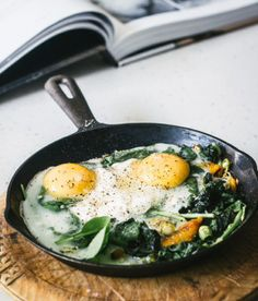 Baked Eggs with Spinach, Ricotta, Leek and Chargrilled Pepper - - - Easier than it looks. Sauté the veggies in an oven proof skillet, add eggs, cream and cheese and finish in oven. Add extra Spinach for a healthier breakfast or add another egg and sop up with a crusty bread.