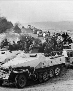 Sd.Kfz. 251/1 Ausf. D mittlere Schützenpanzerwagen, A column of armored unit of the Waffen-SS somewhere on the Eastern Front