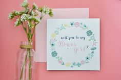 Ask the special little girl in your life to be part of your big day with this super cute floral Flower Girl card. #bridesmaid #maidofhonor #juniorbridesmaid #flowergirl #weddingparty #floralcard #blushwedding #blushcard #loveblush