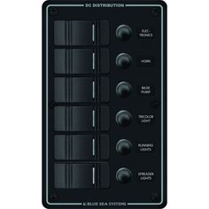 Blue Sea 8373 Water Resistant 6 Position - Black - Vertical Mount Panel - https://www.boatpartsforless.com/shop/blue-sea-8373-water-resistant-6-position-black-vertical-mount-panel/