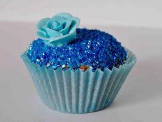 blue, cupcake, dessert, flower, food