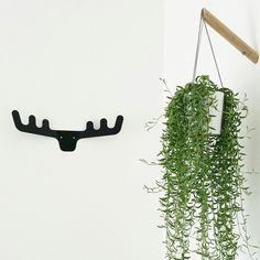 Black Deer Antler Coat Hanger - modern design - scandinavian modern wall decor