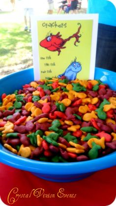 Crystal Vizion Events served multicolored Goldfish crackers and other fun and tasty themed treats at their Dr. Seuss birthday party.