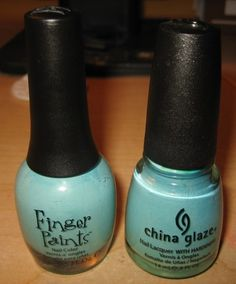 "finger paints ""tiffany imposter"" and china glaze ""for audrey"""