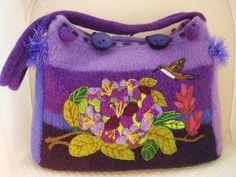 felted tote, felted purse, felted handbag, fiber art, wearable art, iris handbag, needle felt art, hummingbird, extra large tote, rododendrum,www.feltedfantasies.com