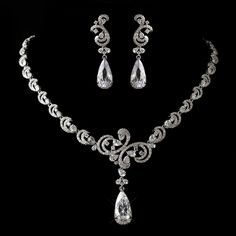 Stunning Antique Silver CZ Wedding Jewelry Set - Affordable Elegance Bridal -