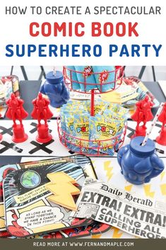 This Comic Book Superhero Party is perfect for kids birthdays! With ideas for table settings, DIY backdrop, favor station, photo booth and more! Get all fo the details now at fernandmaple.com!