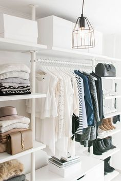 walk in closet- dressing room - IKEA - Stolmen - Ankleidezimmer - industrial lamp - YSL - Saint Laurent - Monogram Université - Zara - Louis Vuitton (Diy Storage Bedroom) Ikea Stolmen, Ikea Algot, Walk In Wardrobe, Capsule Wardrobe, Winter Wardrobe, Luxury Closet, Dream Closets, Open Closets, Small Closets
