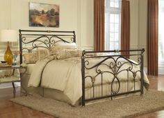 Lucinda Complete Bed with Intricate Metal Scrollwork and Sleighed Top Rail Panels Marbled Russet Finish California King >>> Continue to the product at the image link.
