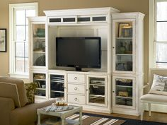 Summer Hill Collection-www.chapinfurniture.com - Right and Left Bookcase, Entertainment Deck, Entertainment Console, and Woven Accent Arm Chair