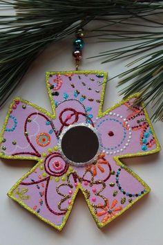 Pink Mirror Flower Original Sybille Lichtenstein Christmas Wood Slice Ornament