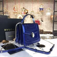 Bulgari Serpenti Top Handle Small Bag Fall 2015 Collection Patent Leather Blue