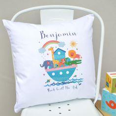 Boys Personalised Noah's Ark Nursery Cushion