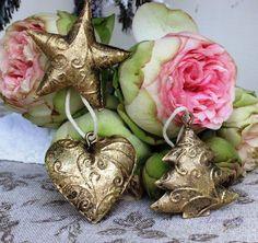Vianočné ozdoby kovové  antická zlatá, sada 18 ks