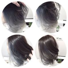 Achieved a silver grey tone ombre balayage with Asian-type hair. Achieved a silver grey tone ombre b Black Hair With Grey Highlights, Hair Highlights, Purple Highlights, Grey Balayage, Hair Color Asian, Underlights Hair, Super Hair, Hair Looks, New Hair