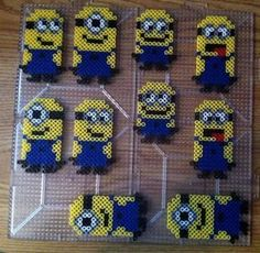 Minions Perler beads by Khoriana on DeviantArt Perler Bead Templates, Diy Perler Beads, Perler Bead Art, Pearler Beads, Pixel Beads, Fuse Beads, Pearler Bead Patterns, Perler Patterns, Loom Patterns