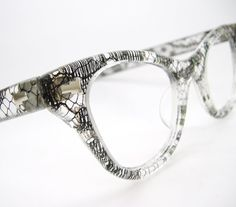 Black Lace Vintage Cat eye Glasses Fifties by Vintage50sEyewear