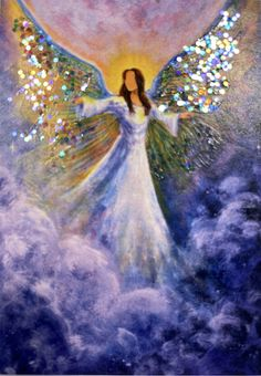 ACEO Angel PRINT Hand Embellished with Glitter by BrydenArt on Etsy Angel Wings Painting, Angel Artwork, Angel Drawing, Angel Pictures, Beautiful Angels Pictures, I Believe In Angels, Angels Among Us, Original Paintings, Canvas Art