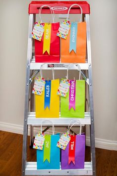 Colorful favor bags at an art birthday party! See more party planning ideas at… Artist Birthday Party, Birthday Party Treats, 9th Birthday Parties, Rainbow Birthday Party, Birthday Ideas, Rainbow Parties, Kids Art Party, Craft Party, Painting Party Kids