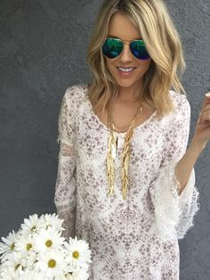 Ali Fedotowsky.. O'Neil 'Panama' Shift Dress, ModCloth Steadfast Style Boots, Baublebar Harvest Bib, and SheIn Blue Lenses Silver Thin Rim Sunglasses.. #stylethebump