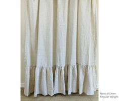 Natural Linen shower curtain with mermaid long ruffles, undyed linen, Custom Shower Curtain Extra Long, Wide - Modern Custom Shower Curtains, Shower Curtain Hooks, Kitchen Sink Design, Romantic Room, Farmhouse Bedroom Decor, Cool Fabric, Bath Decor, Fabric Swatches, Natural Linen