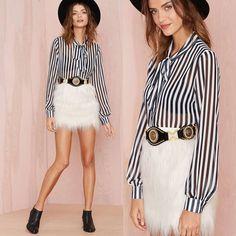 Women Black White Stripe Print Long Sleeves Crinkle Oversize  Blouse Tops Shirt  #Dunland #Blouse #Casual