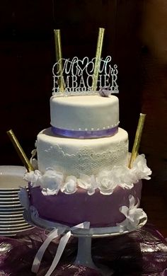 Wedding Cake, white and lilac Fondant, Sugar Lace, Wafer Paper Flowers, Mr&Mrs Topper Wafer Paper Flowers, Sugar Lace, Fondant, Lilac, Wedding Cakes, Desserts, Food, Pies, Tutorials