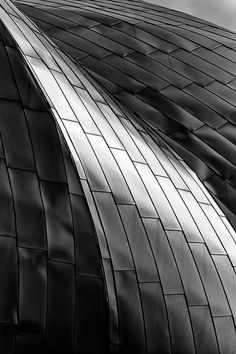 Stainless Wave by John Crouch.    The stainless steel band shell at Pritzker Pavilion catches some of the rare April sunlight in Chicago. The band shell, designed by Frank Gehry, is one of the signature elements in Chicago's famous Millennium Park.