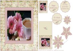 A lovely Pink and Cream Shabby Chic, Floral Frame. With a Cup of Tea, Pink Flowers and yummy Chocolates Photo inside. With a small topper for the reverse of your card, a Matching Gift Tag, Three Co-ordinating Scalloped, Greeting Tags and a Co-ordinating Flower embellishment that has Three layers to decoupage. This will make a very pretty A5 Mother's Day card.