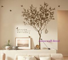 Tree with bird------Vinyl Wall Decal Sticker Nature Design Tree Wall Decals Wall stickers Nursery wall decal chrildren's wall decals. $56.00, via Etsy.