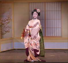 Evening Dances Antique Japanese Womens Silk Kimono Furisode Formal Odori Maiko Dancer